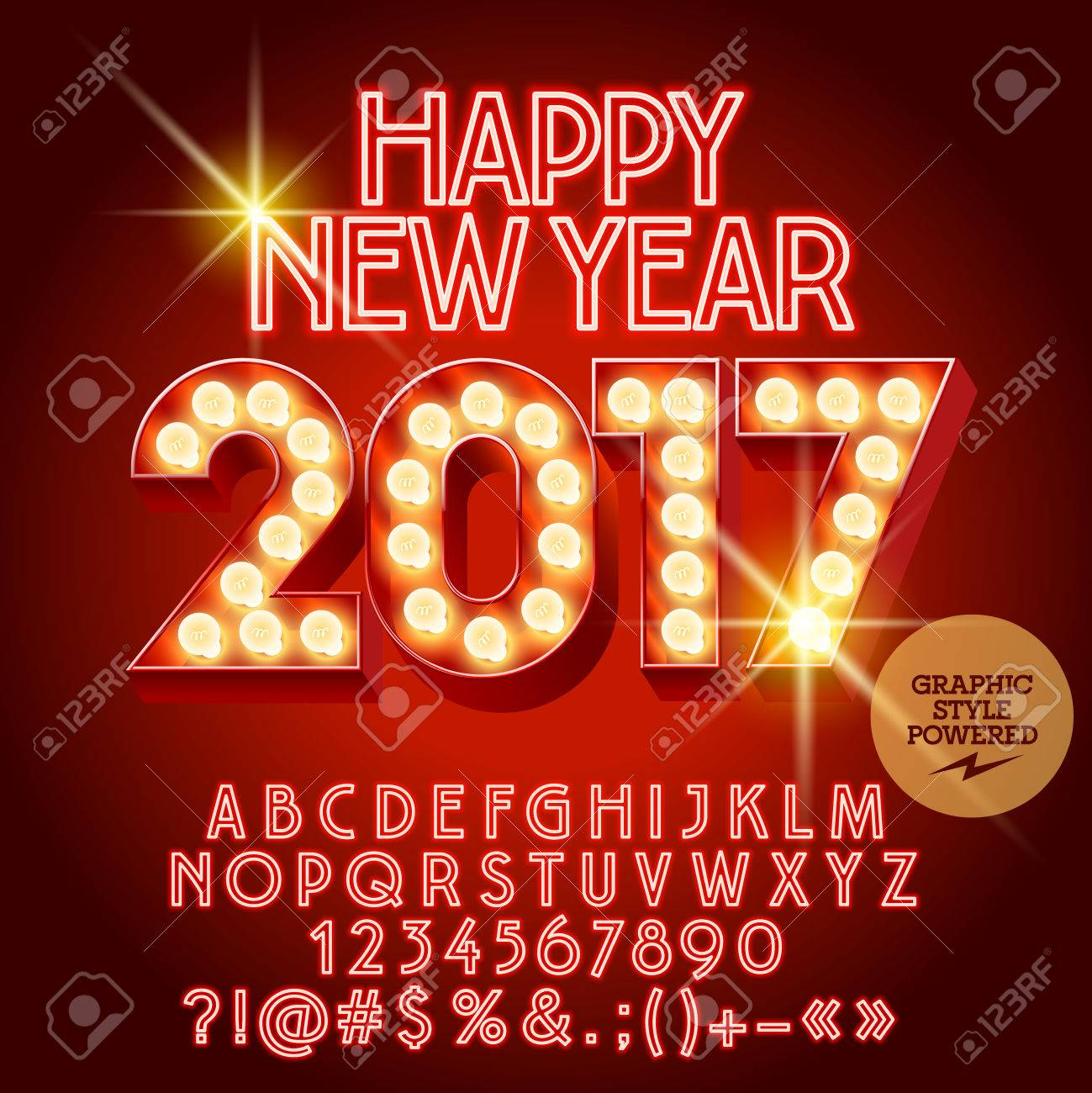 Vector Light Up Happy New Year 2017 Greeting Card With Set Of