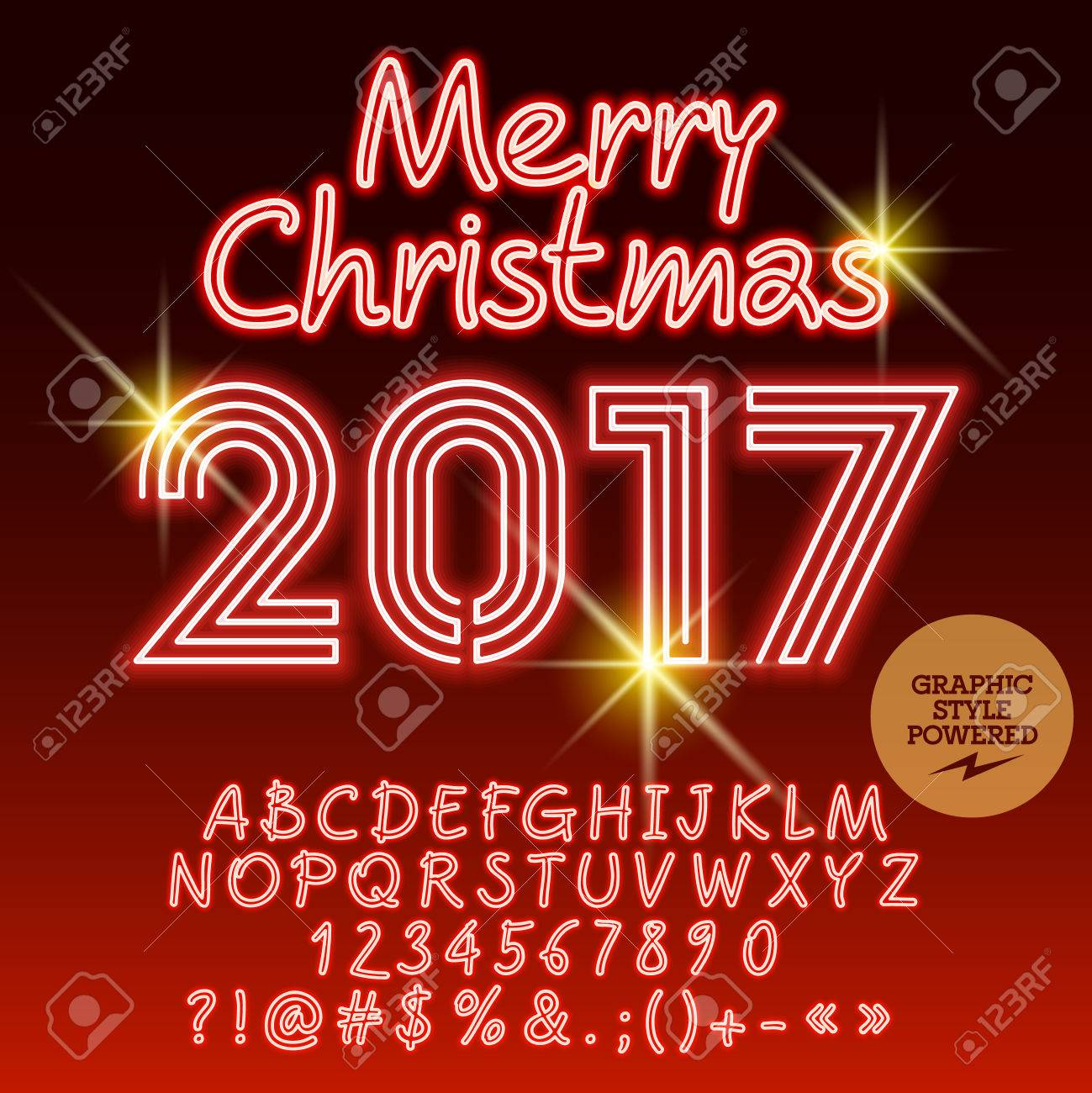 Vector Light Up Merry Christmas 2017 Greeting Card With Set Of