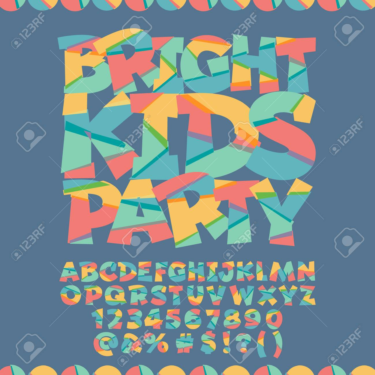 Cool Card With Text Bright Kids Party Vector Set Of Colorful