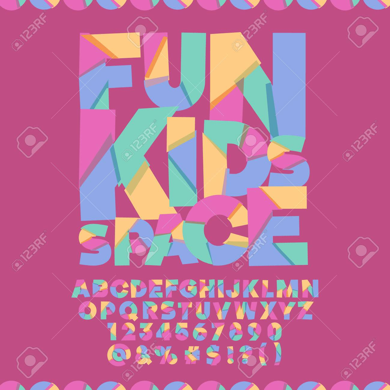 Cool Banner With Text Fun Kids Space Vector Set Of Colorful