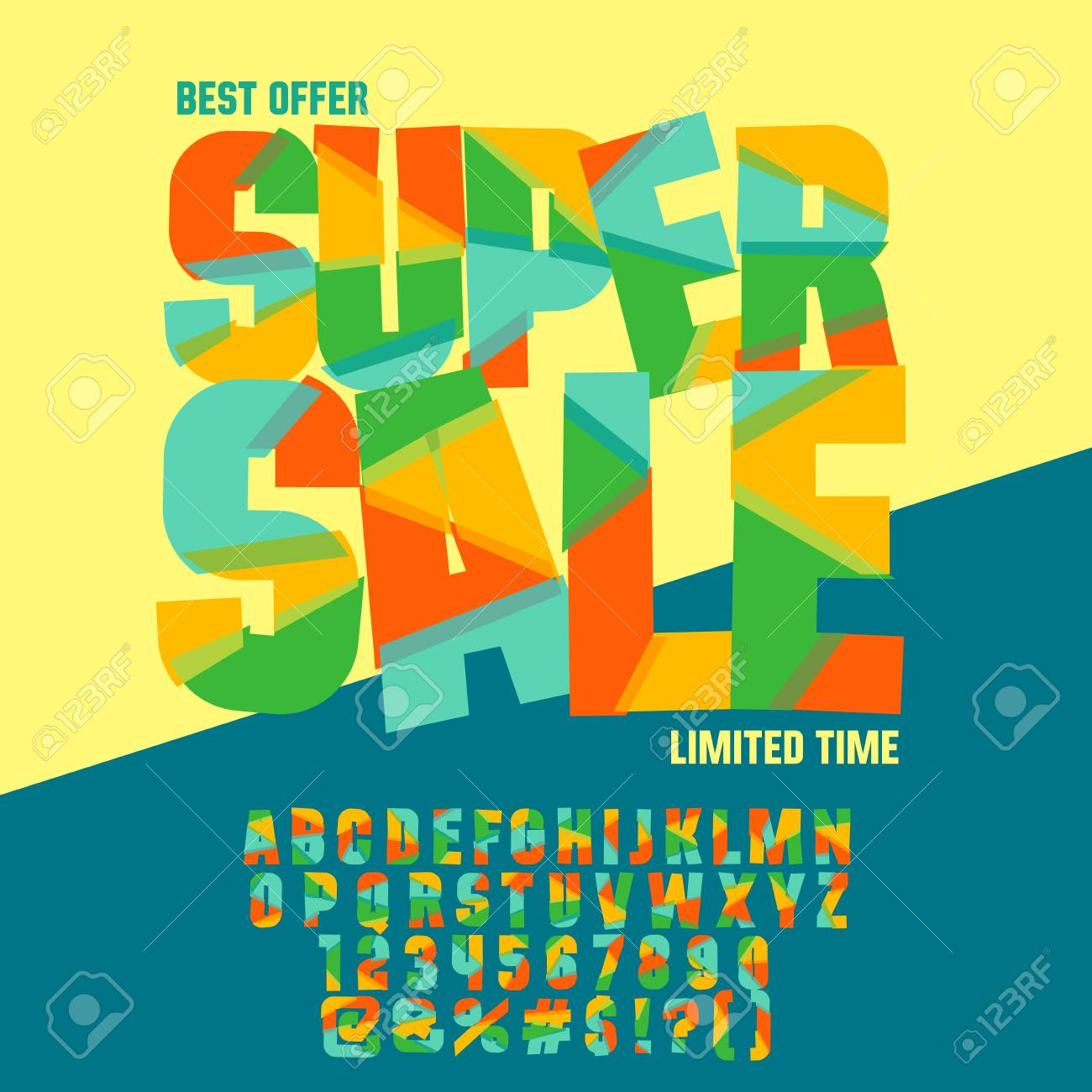 Bright Icon With Text Super Sale Vector Set Of Colorful Letters