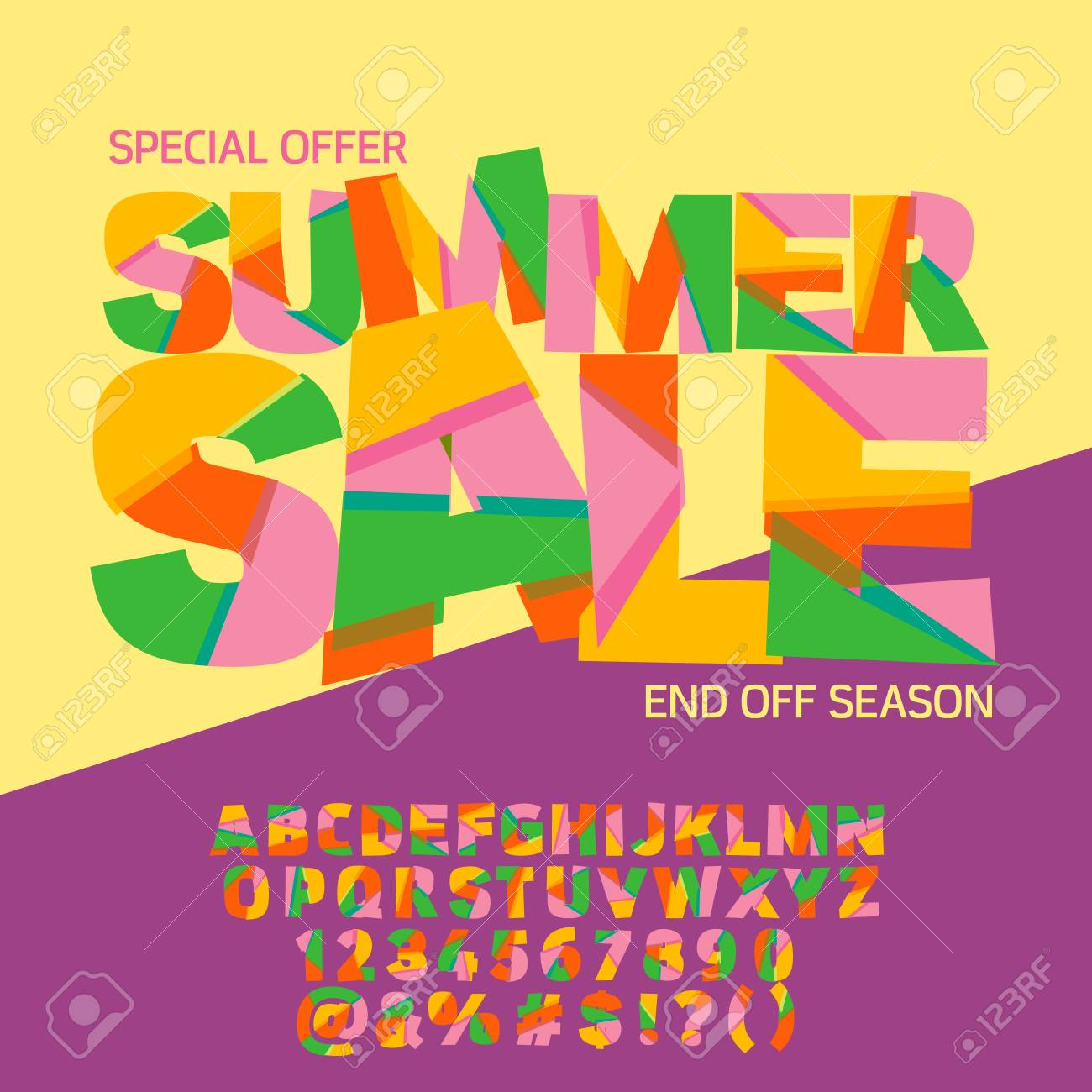Bright Logotype With Text Summer Sale. Vector Set Of Colorful ...