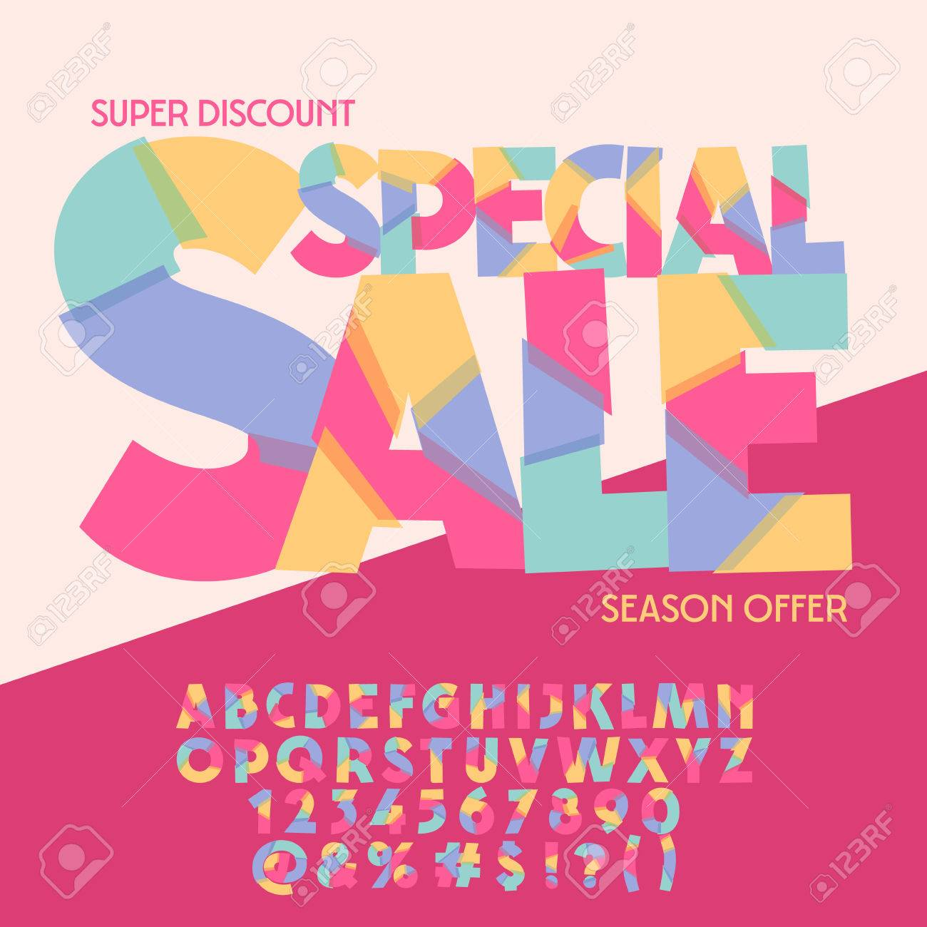 Bright Logo With Text Special Sale. Vector Set Of Colorful Letters ...