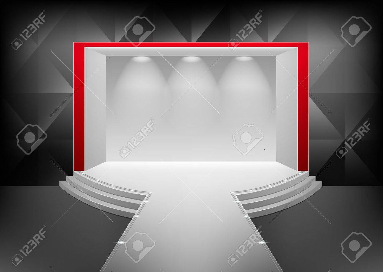 Scene with a podium and a staircase illuminated by a spotlight. The interior in the style of minimalism Stock Vector - 23492633