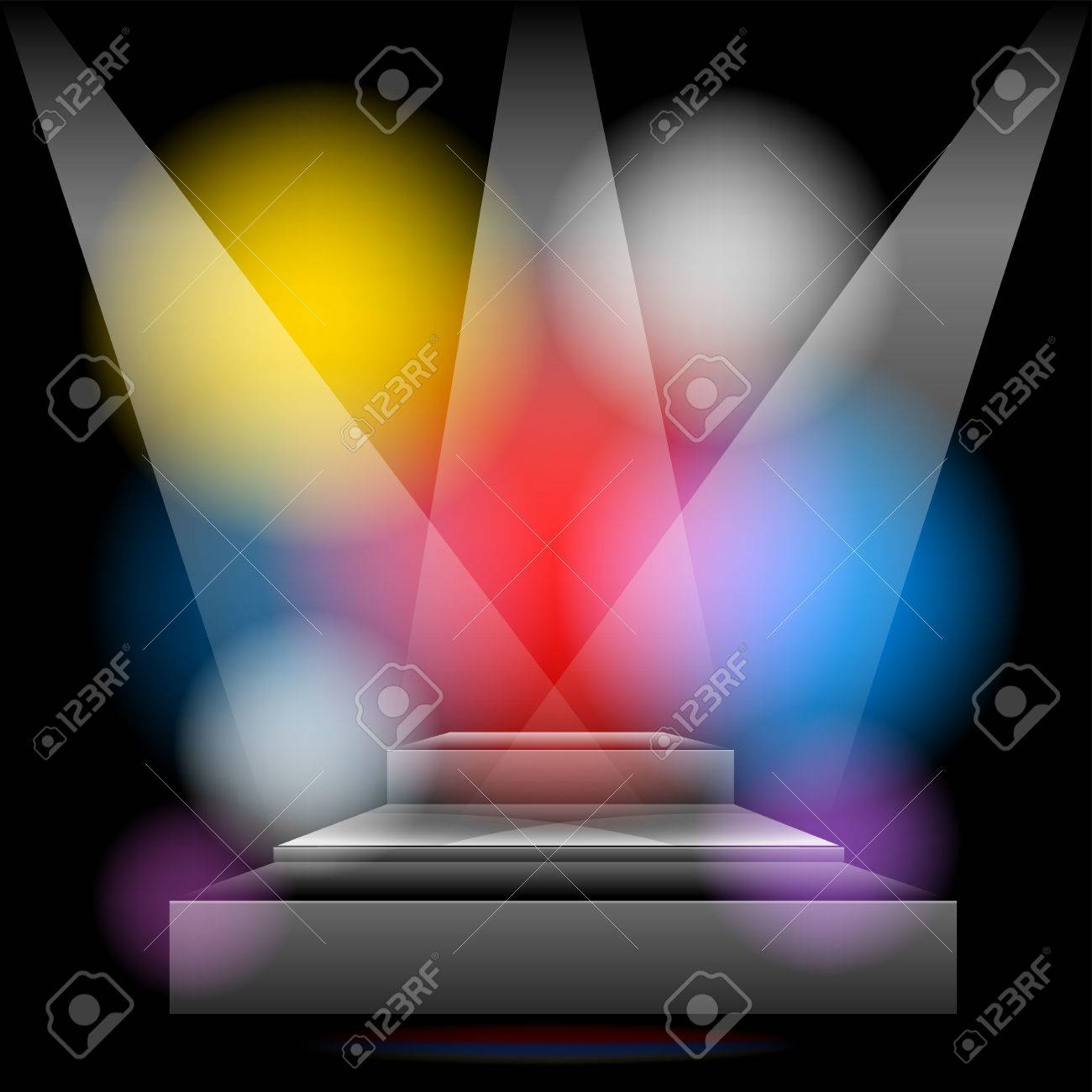 Podium brightly lit with colored lights Stock Vector - 23564861