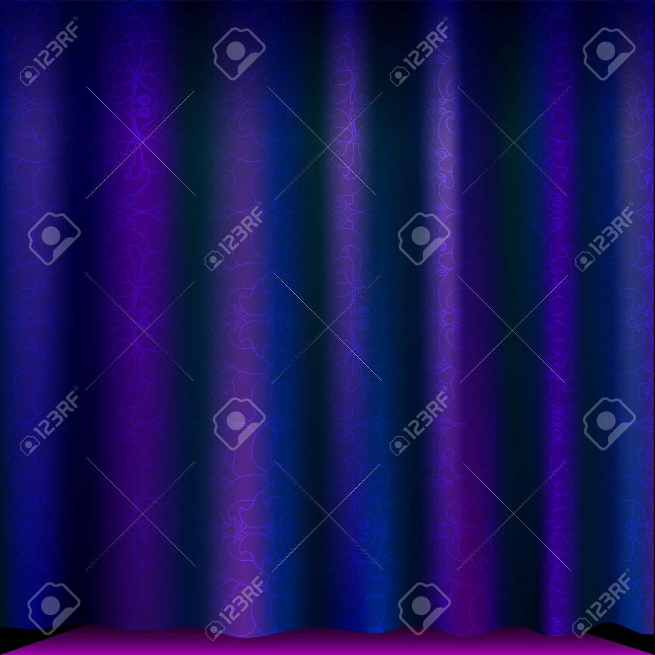 Luxe Rideau Violet Avec Motif Floral Beau Fond Avec Baissé Rideau De ...