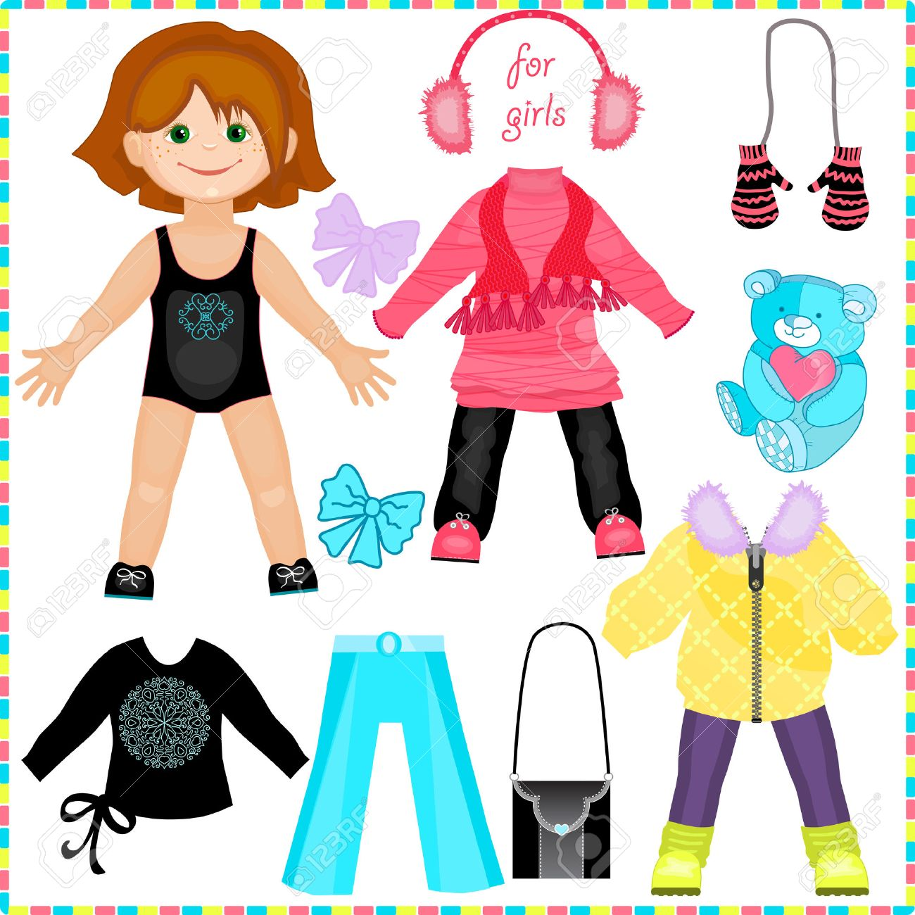 paper doll with a set of clothes cute fashion girl template
