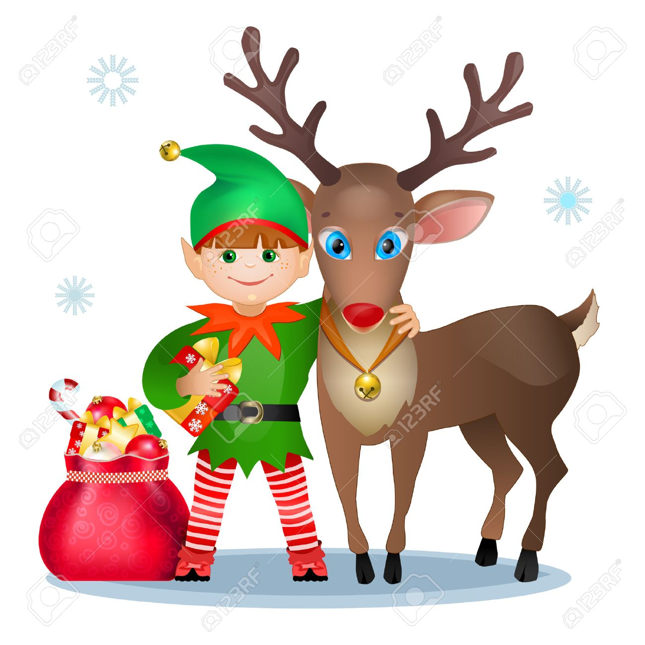 Funny Elf And Reindeer Christmas Card Stock Vector 24026883