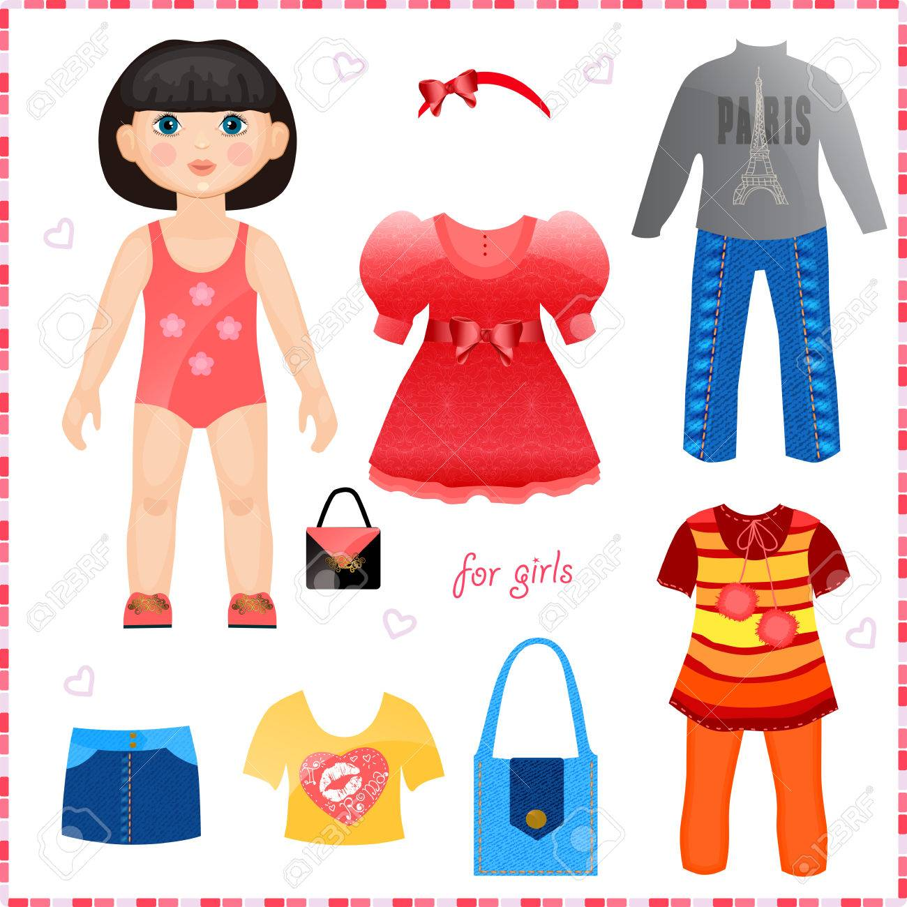 Paper Doll With A Set Of Clothes Cute Fashion Girl Template ...
