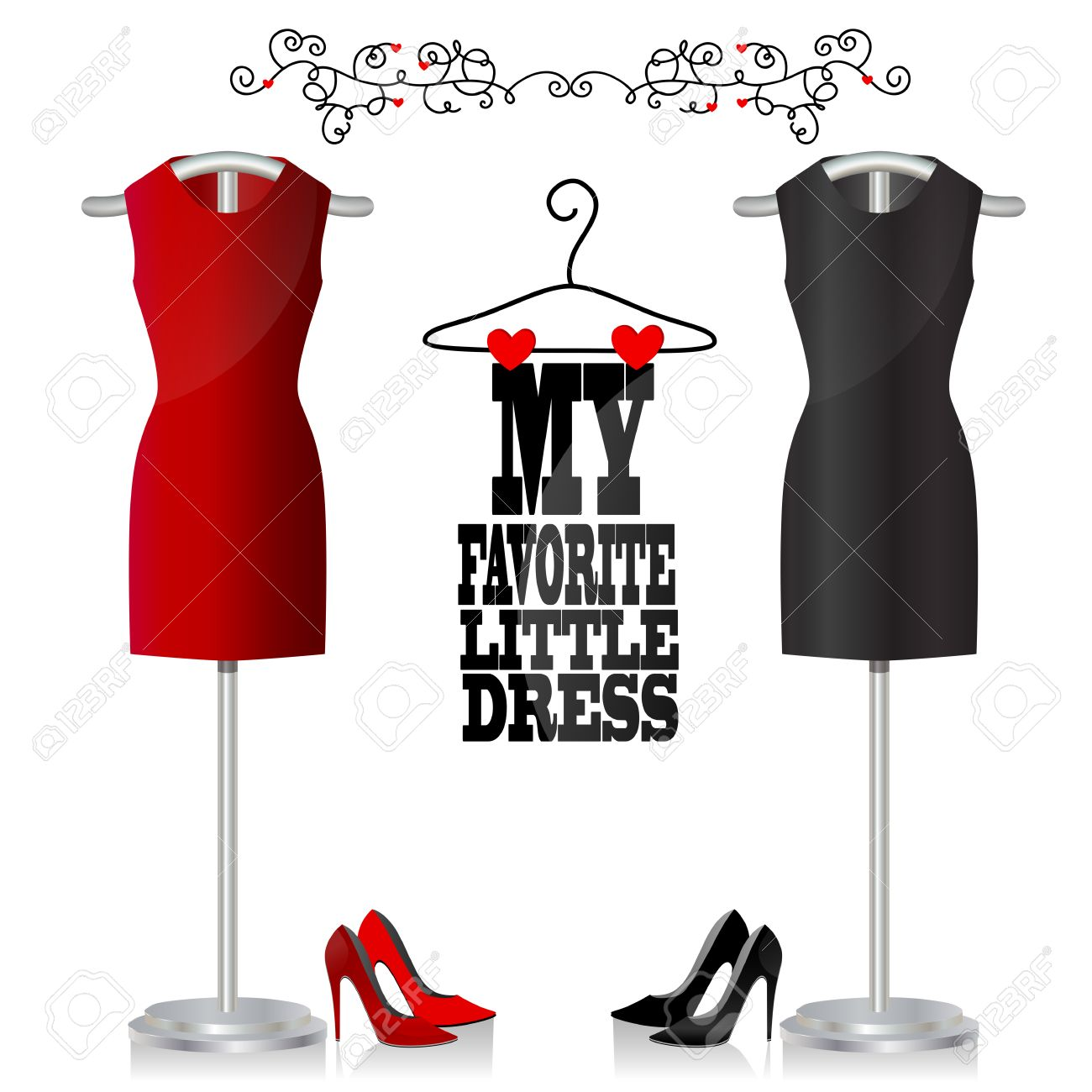 Black and red dress and shoes. Dress on a hanger. My favorite little dress Stock Vector - 24745763