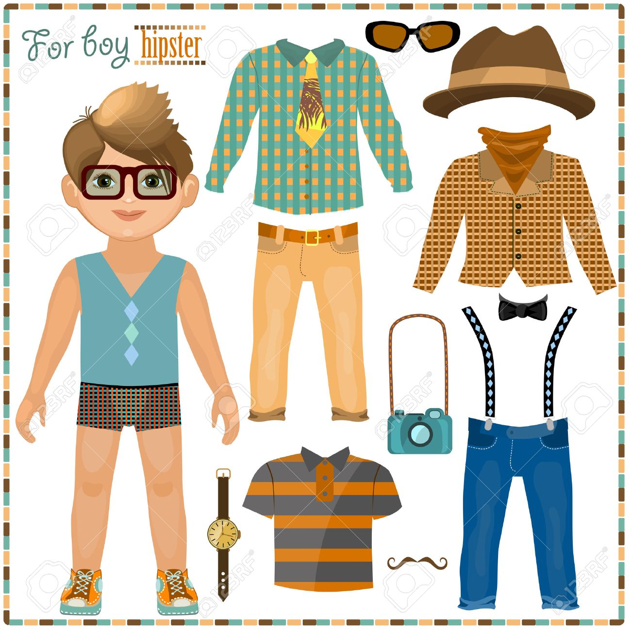 Paper Doll With A Set Of Clothes. Cute Hipster Boy. Template ...