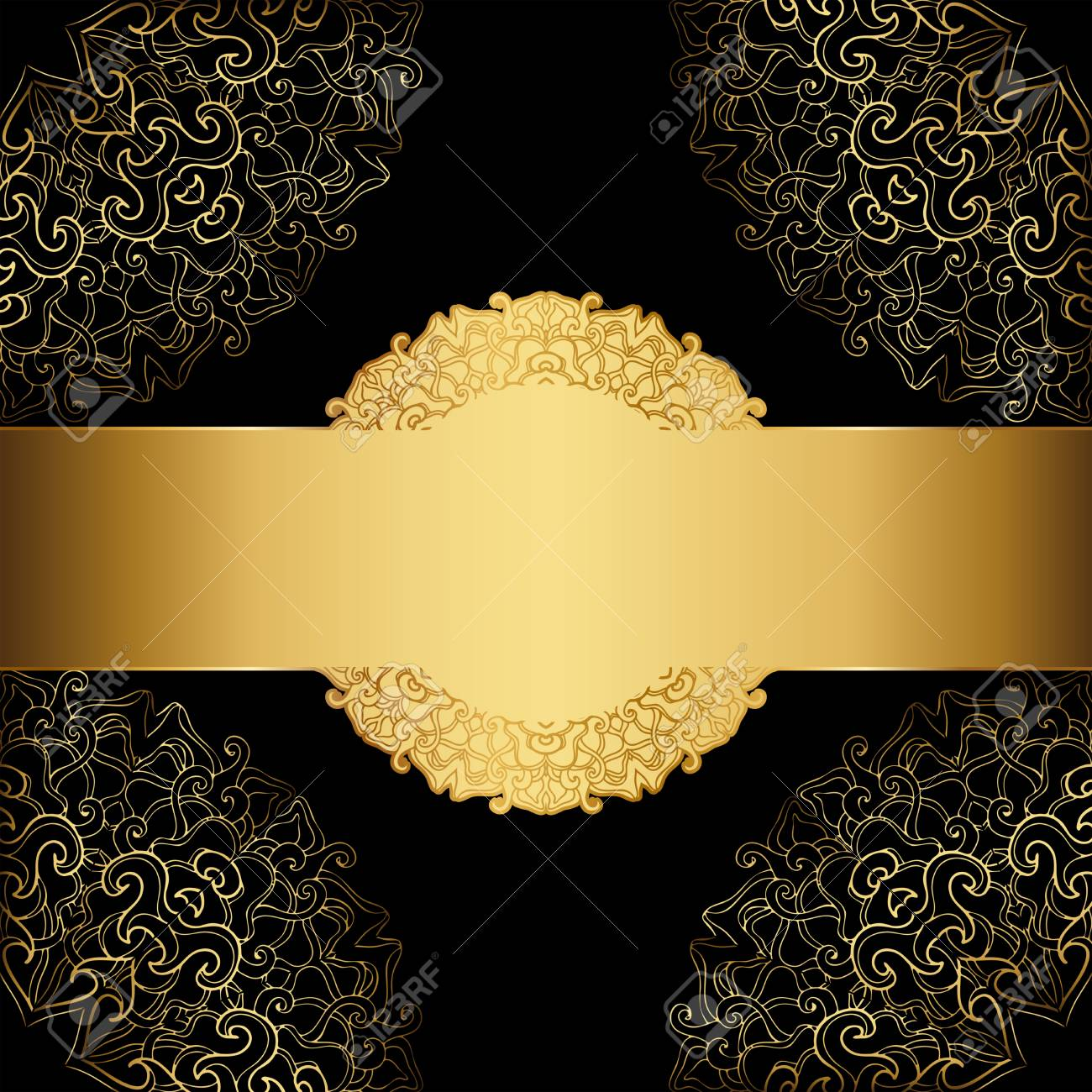 Gold Frame On A Black Background Elegant Label Royalty Free