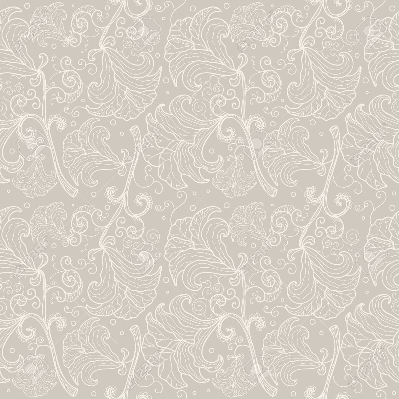 Abstract Seamless Floral Pattern Contour Elegant Wedding Background