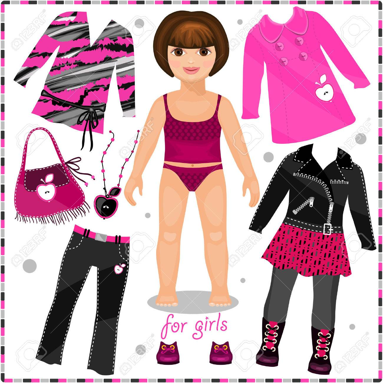 Paper Doll With A Set Of Fashion Clothes. Template For Cutting ...