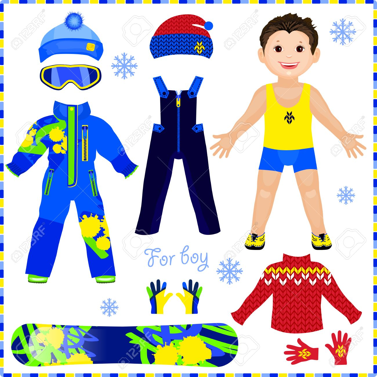 Paper Doll With A Set Of Clothes. Winter Sportswear. Cute Trendy ...