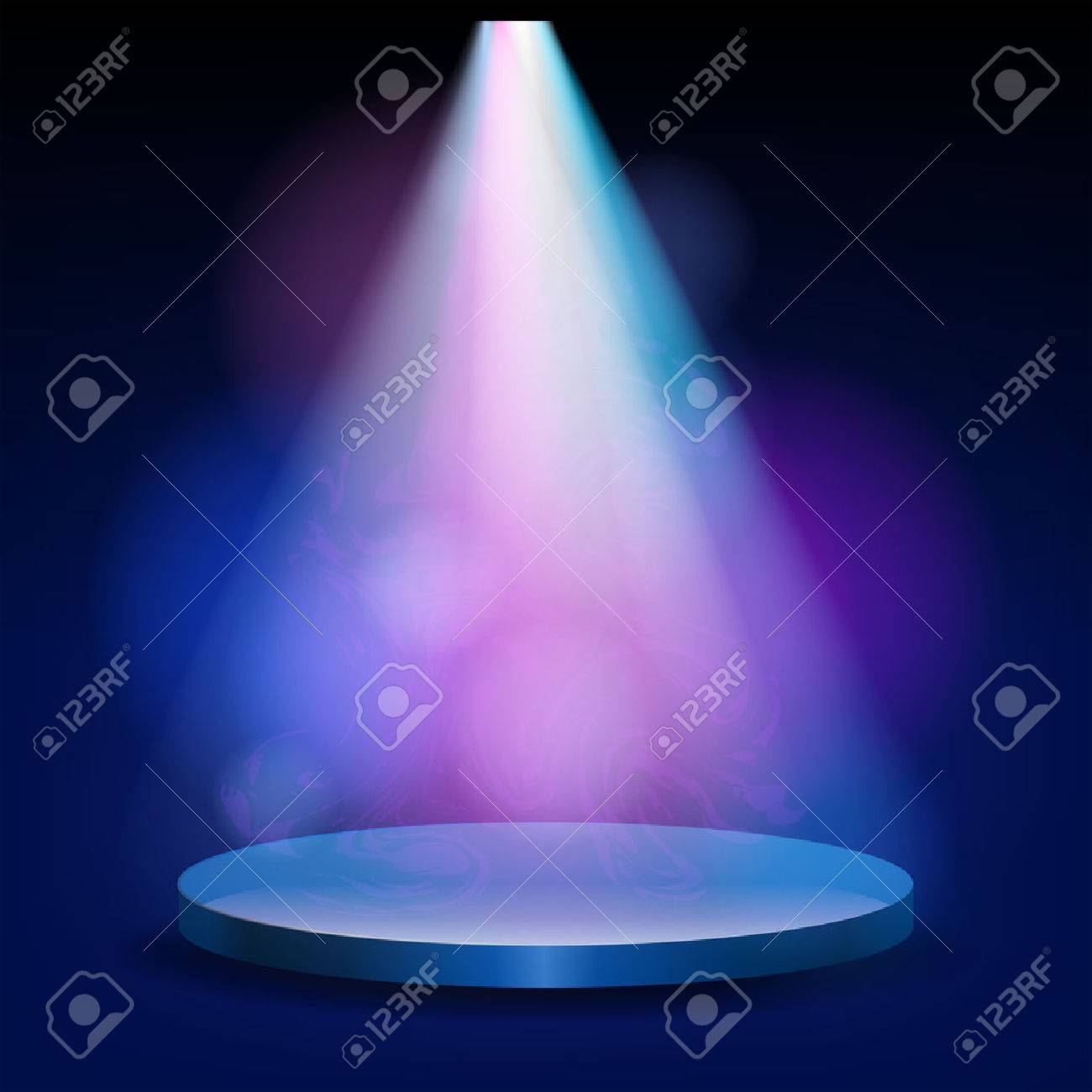 Empty Stage Lit With Lights On Blue Background The Podium Shines A Bright Spotlight