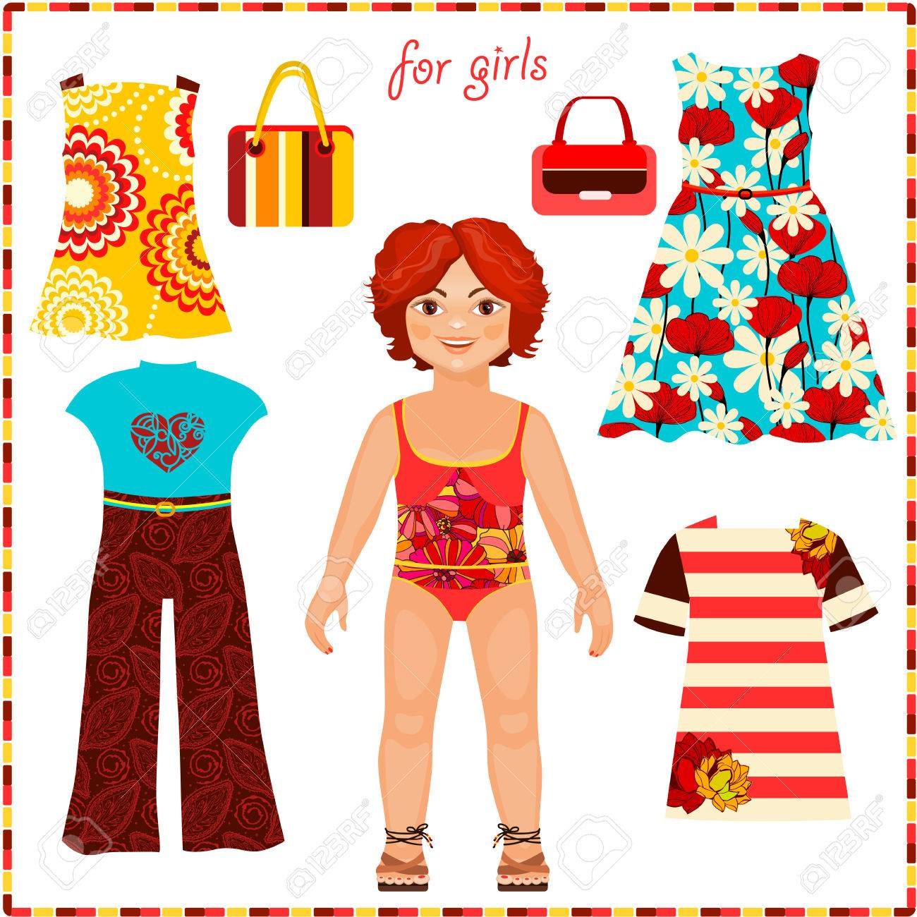 Paper Doll With A Set Of Fashion Clothes. Cute Girl. Template ...