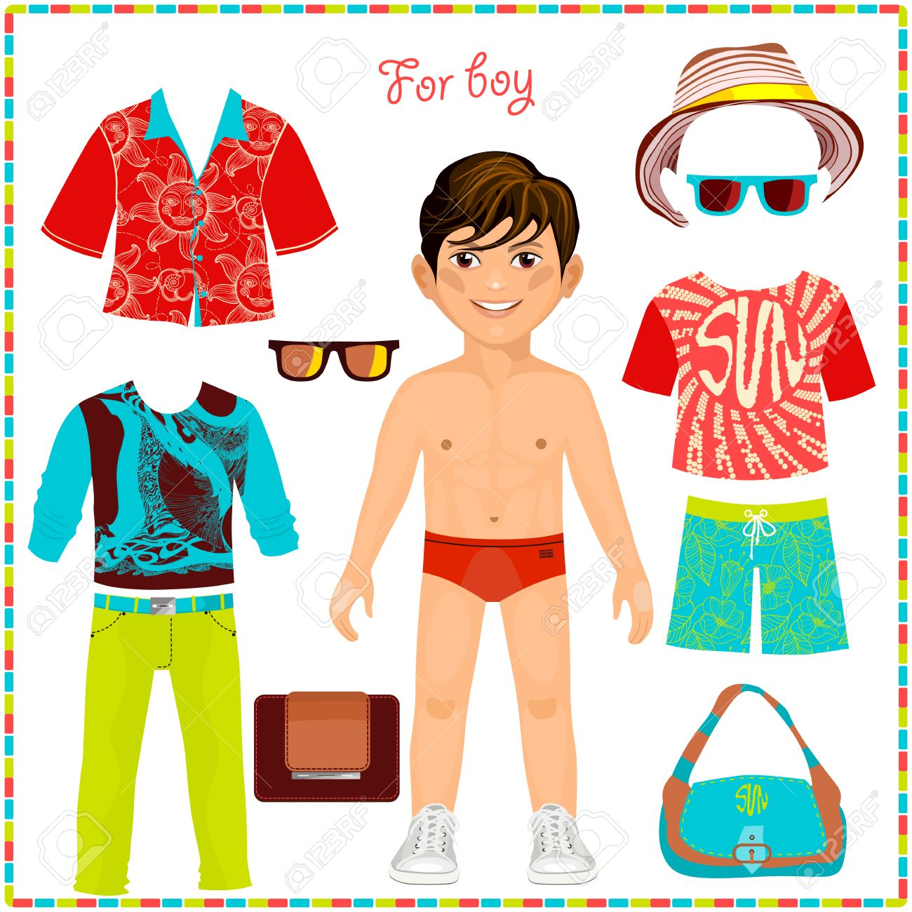 Paper Doll With A Set Of Fashionable Clothing. Cute Trendy Boy ...