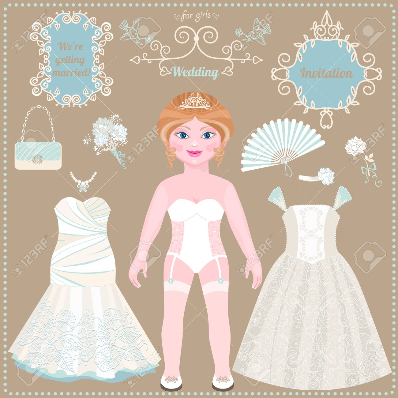 Paper doll wedding dresses and accessories ideas for wedding paper doll wedding dresses and accessories ideas for wedding invitations lovely bride pronofoot35fo Gallery