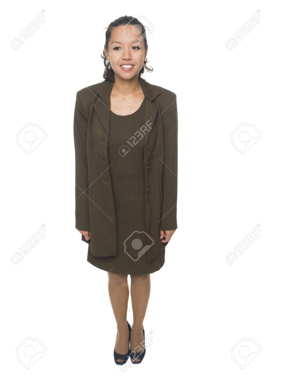 Isolated studio shot of a businesswoman facing forwards, but looking slightly off camera with her eyes. Stock Photo - 8081139