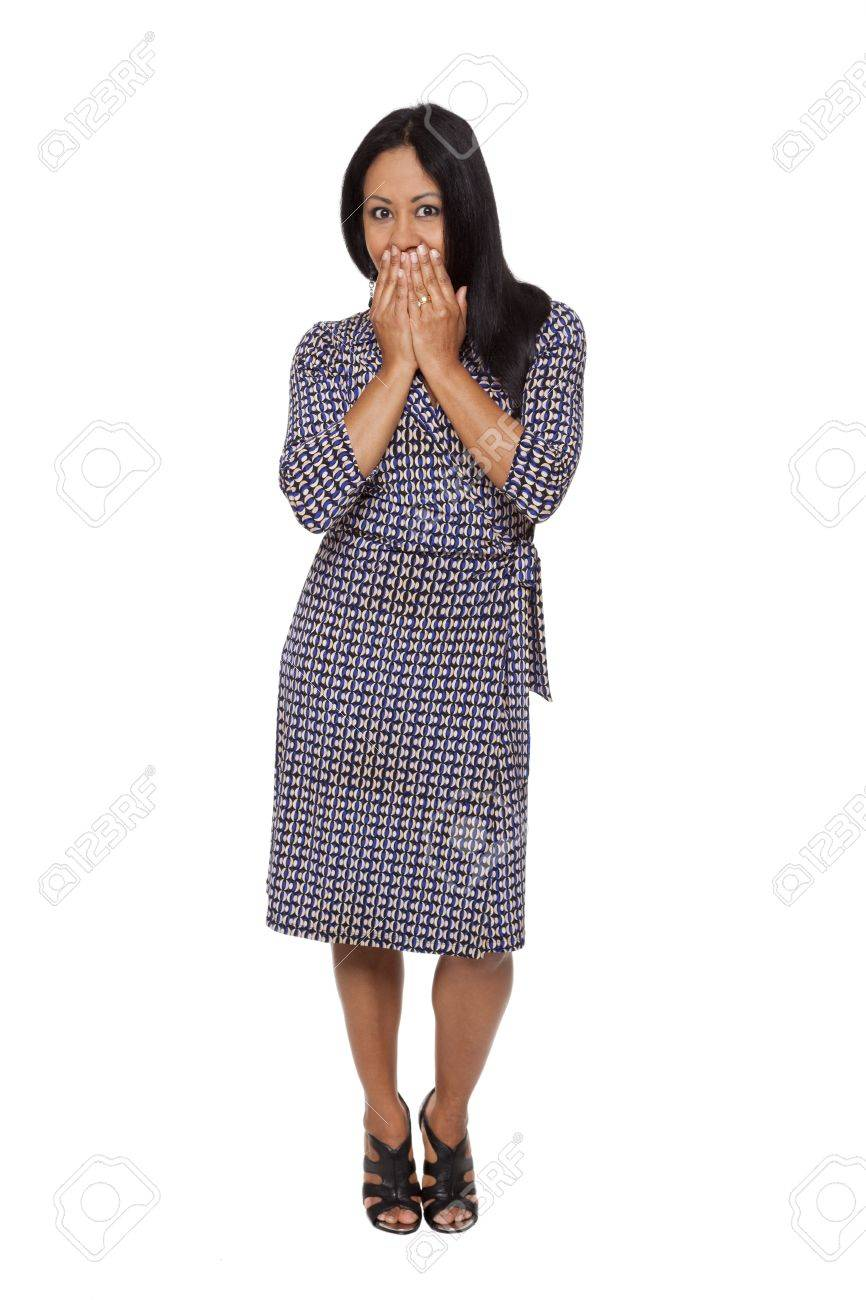 Isolated full length studio shot of a Latina woman in the See No Evil, Hear No Evil, Speak No Evil poses. Stock Photo - 8052861
