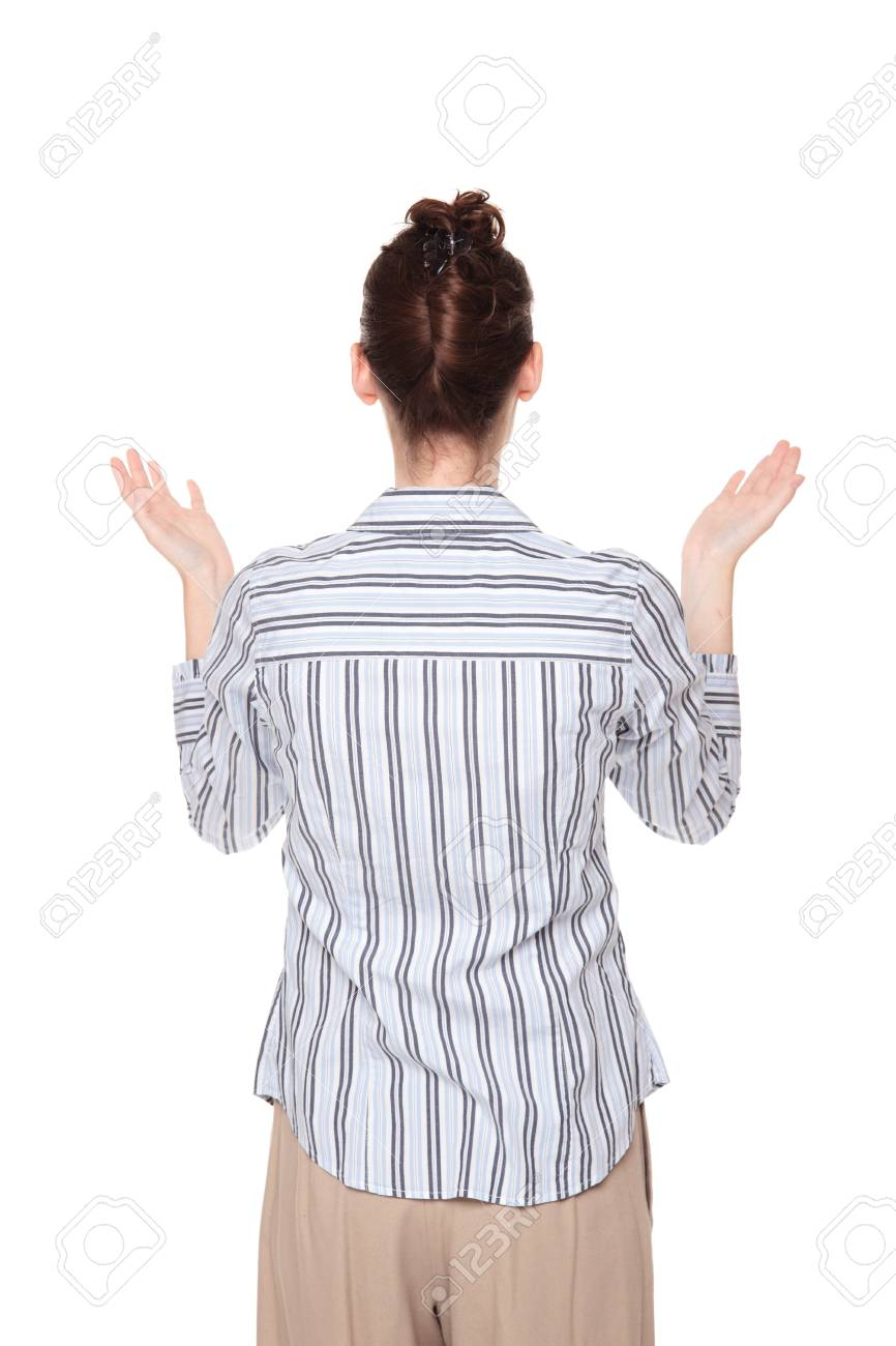 Isolated studio shot of a Caucasian woman looking up with arms raised in disbelief Stock Photo - 8052491