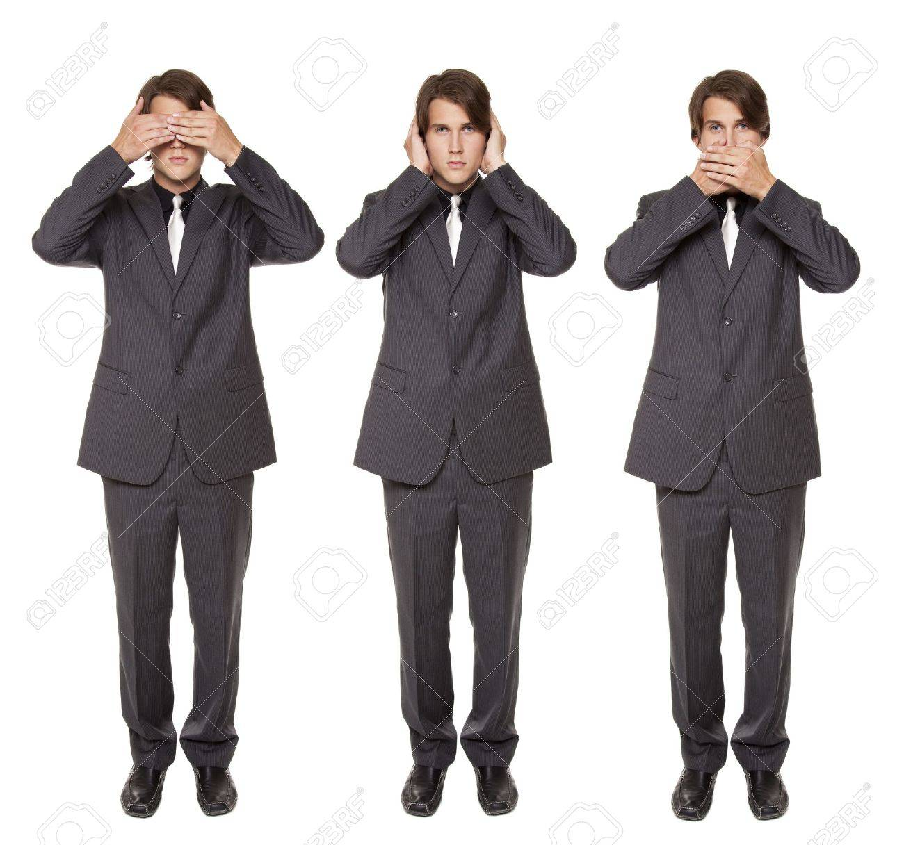 Isolated studio shot of a businessman in the See No Evil, Hear No Evil, Speak No Evil poses. Stock Photo - 8081950