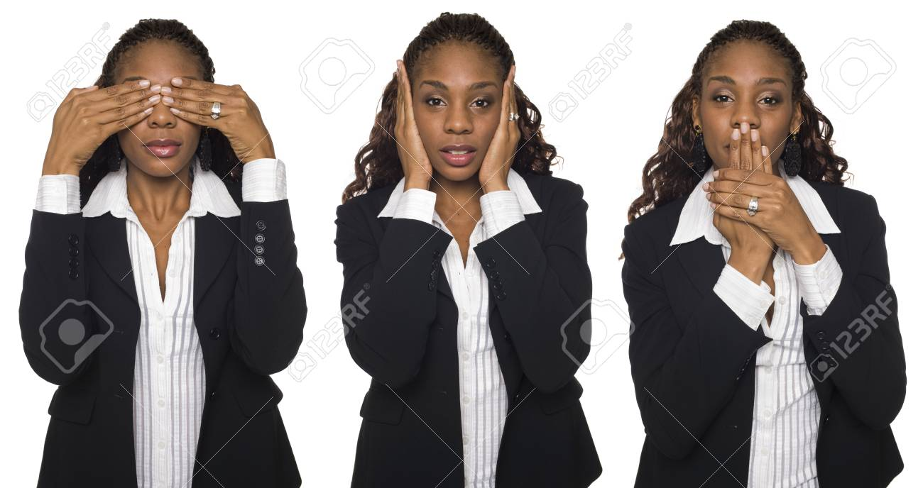 Isolated studio shot of a businesswoman in the See No Evil, Hear No Evil, Speak No Evil poses. Stock Photo - 8050971