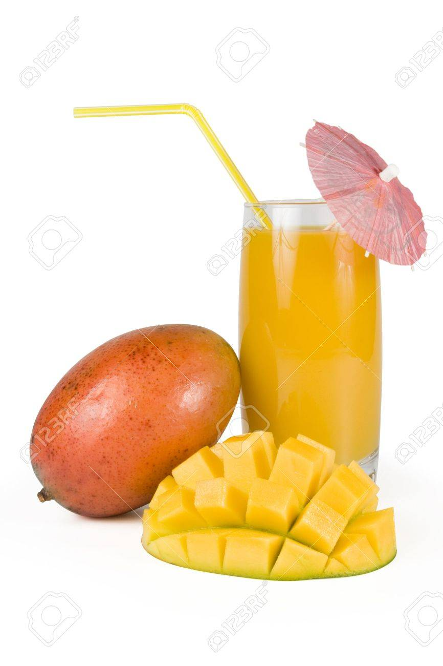 Fresh, juicy, appetizing mango and glass of fresh juice with a straw, decorated with a decorative umbrella. Isolated on a white background Stock Photo - 2631984