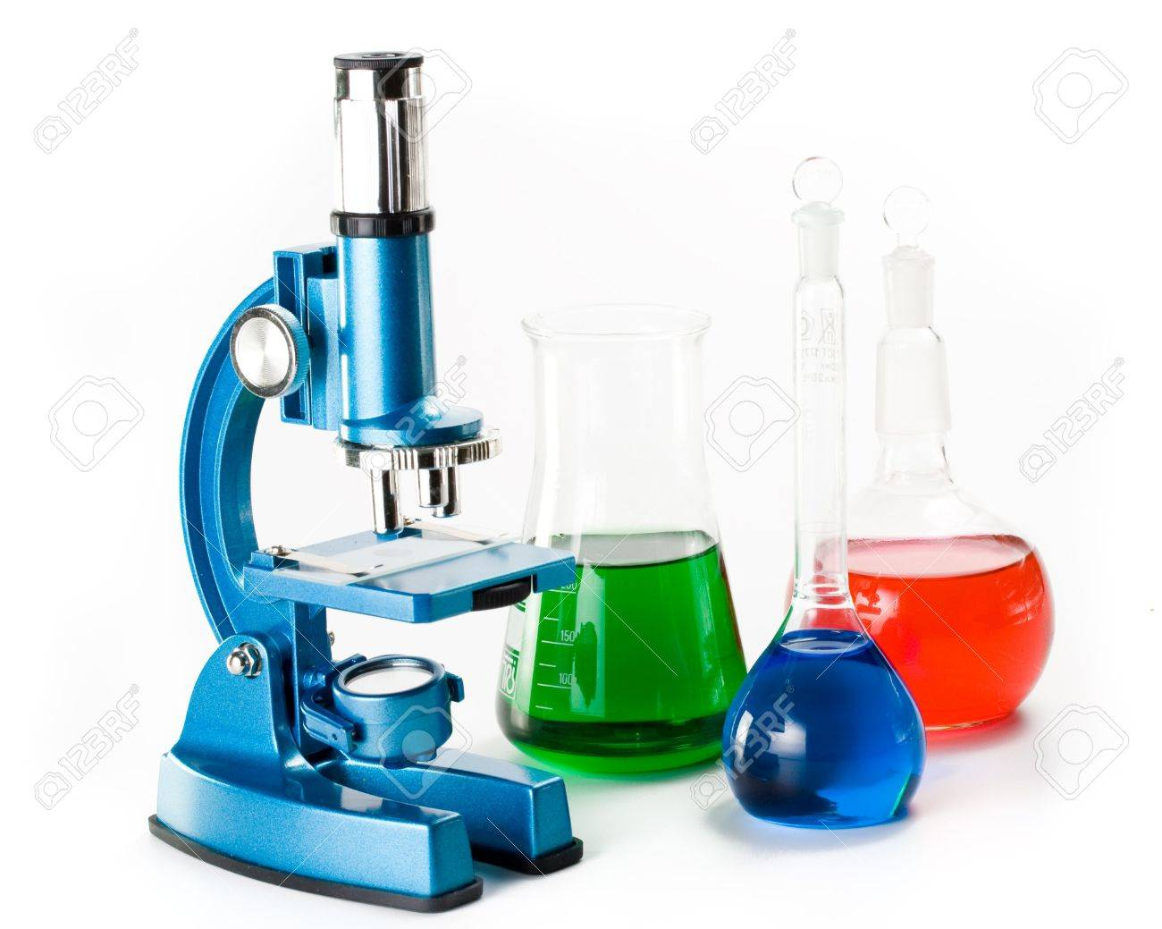 Various colorful flasks and blue microscope over white background Stock Photo - 2978505