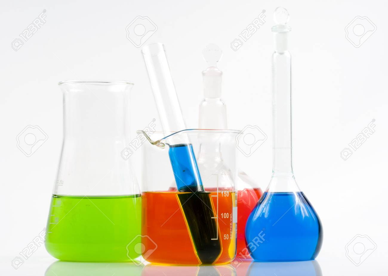 Various colorful flasks over white background Stock Photo - 3111516