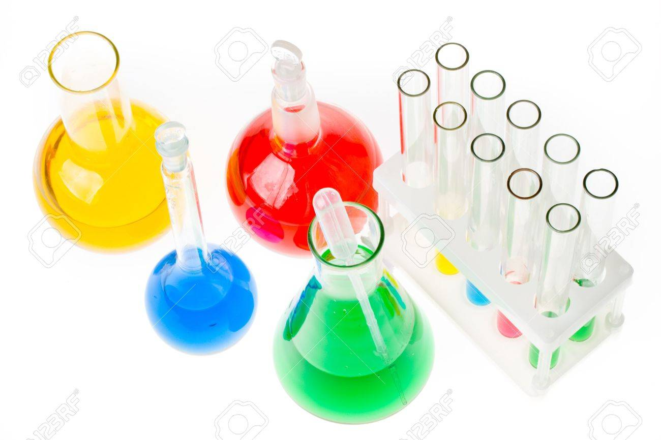 Various colorful glass laboratory ware on a white background Stock Photo - 3221938