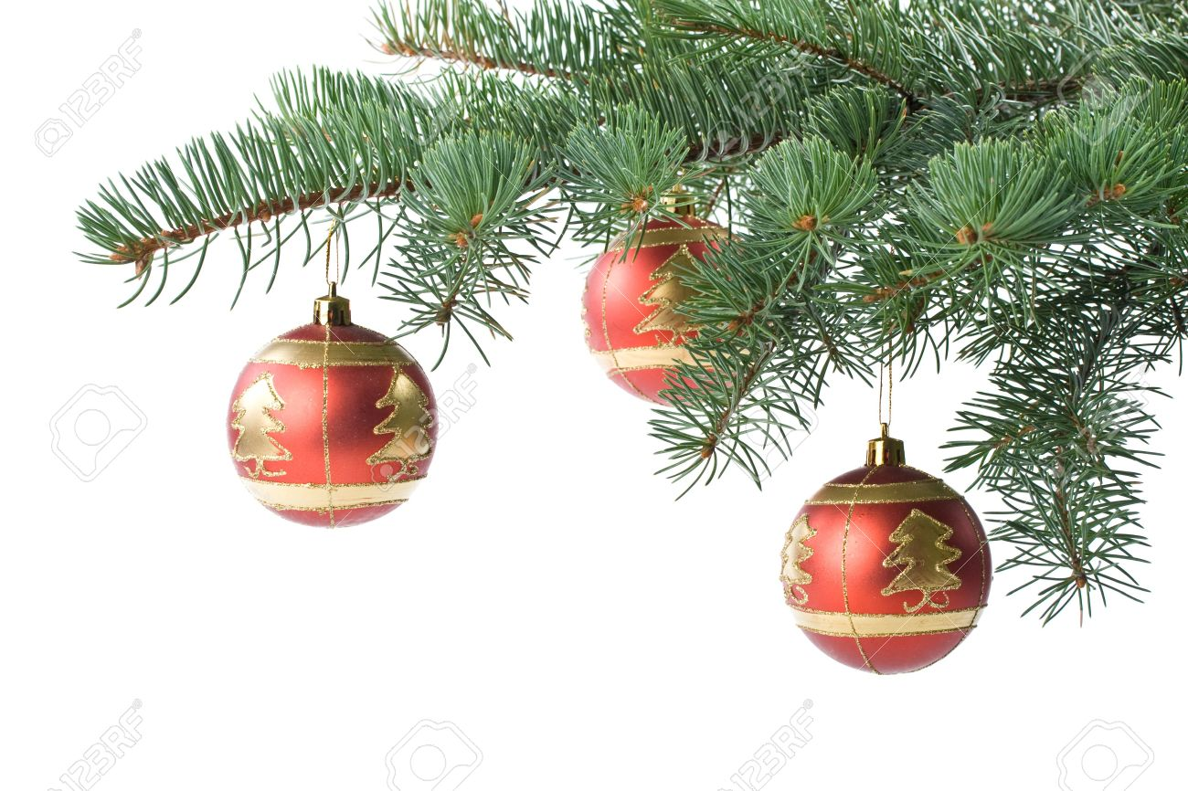Fir tree branch with decoration on a white background. Close up. Christmas decoration. Stock Photo - 3775538