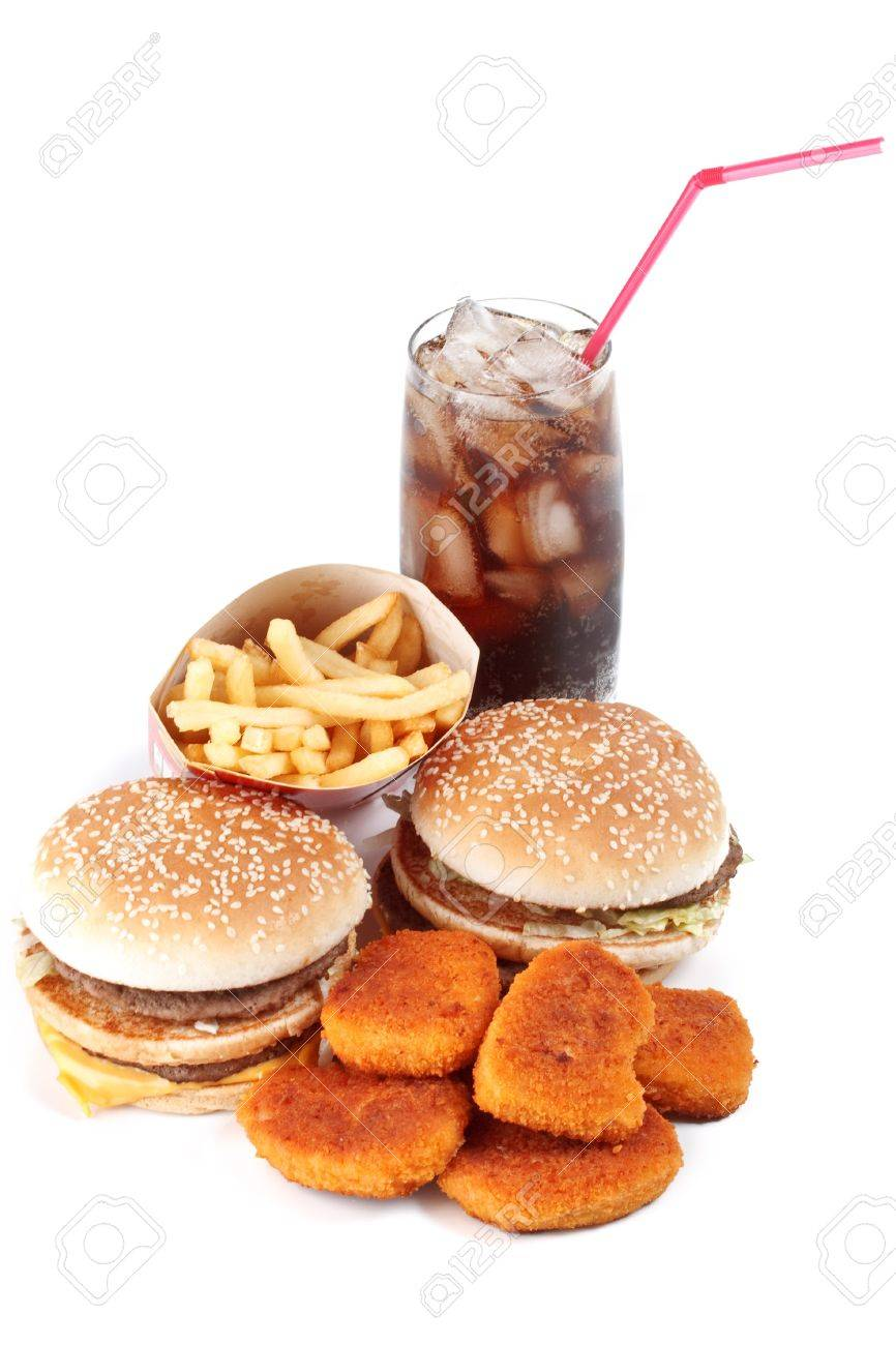 Hamburger, french fries, chicken nuggets and cola on a white background Stock Photo - 4311620