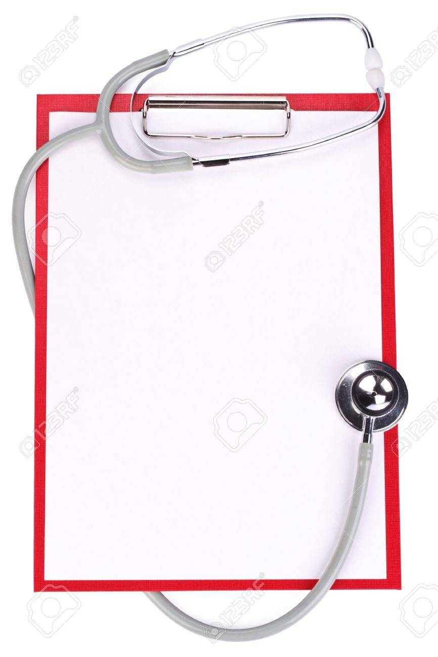 Medical clipboard with blank paper for messages and a stethoscope Stock Photo - 4534764