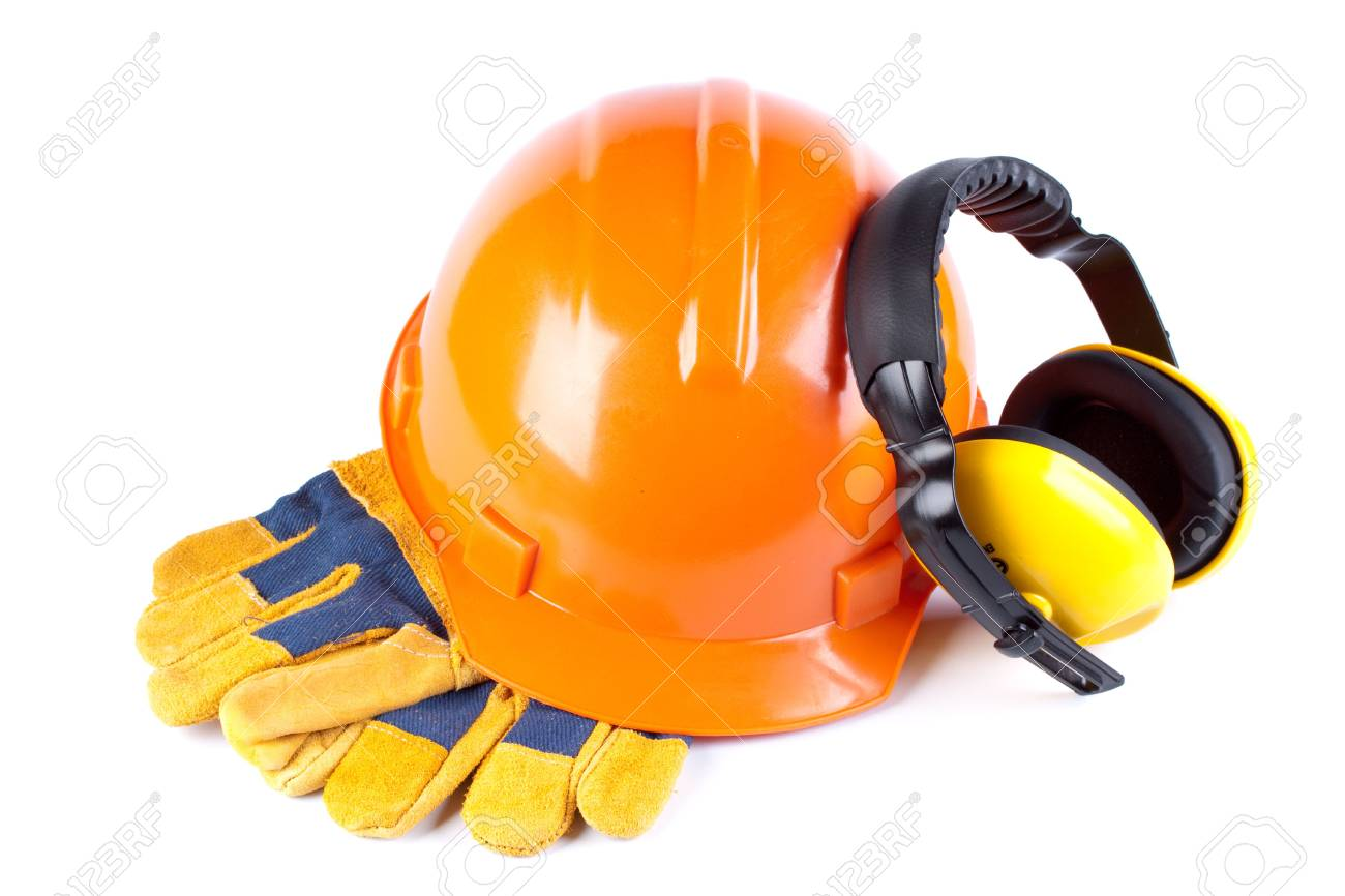 Orange hard hat, earphones and gloves on a white background Stock Photo - 5455828