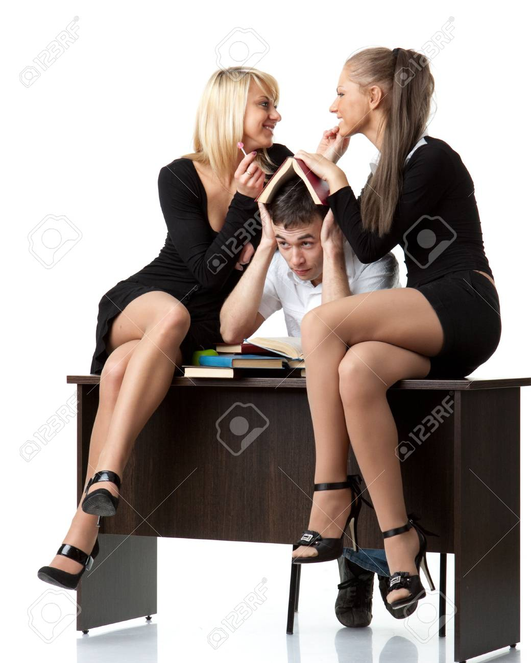 Students prepare for examination on a white background Stock Photo - 6624851
