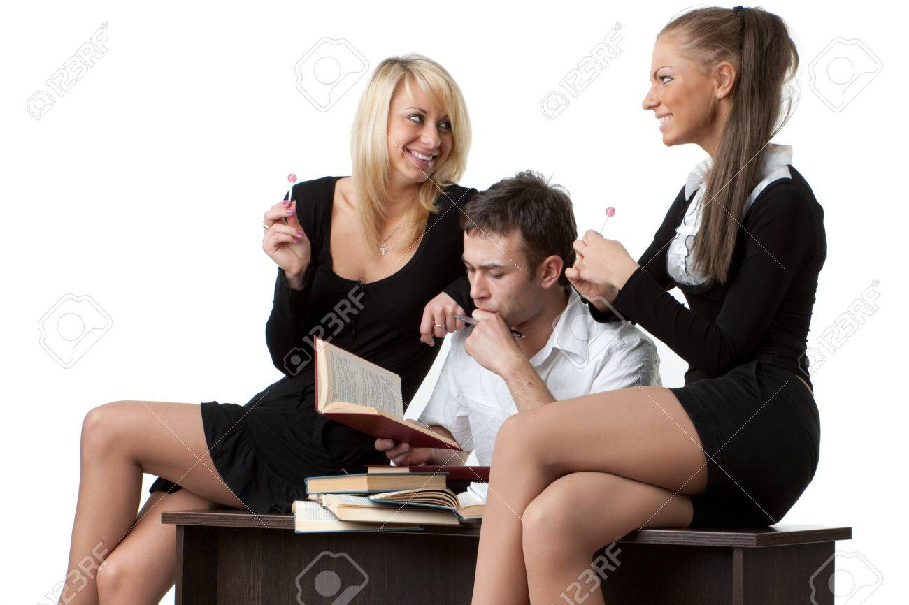 Students prepare for examination on a white background Stock Photo - 7002051