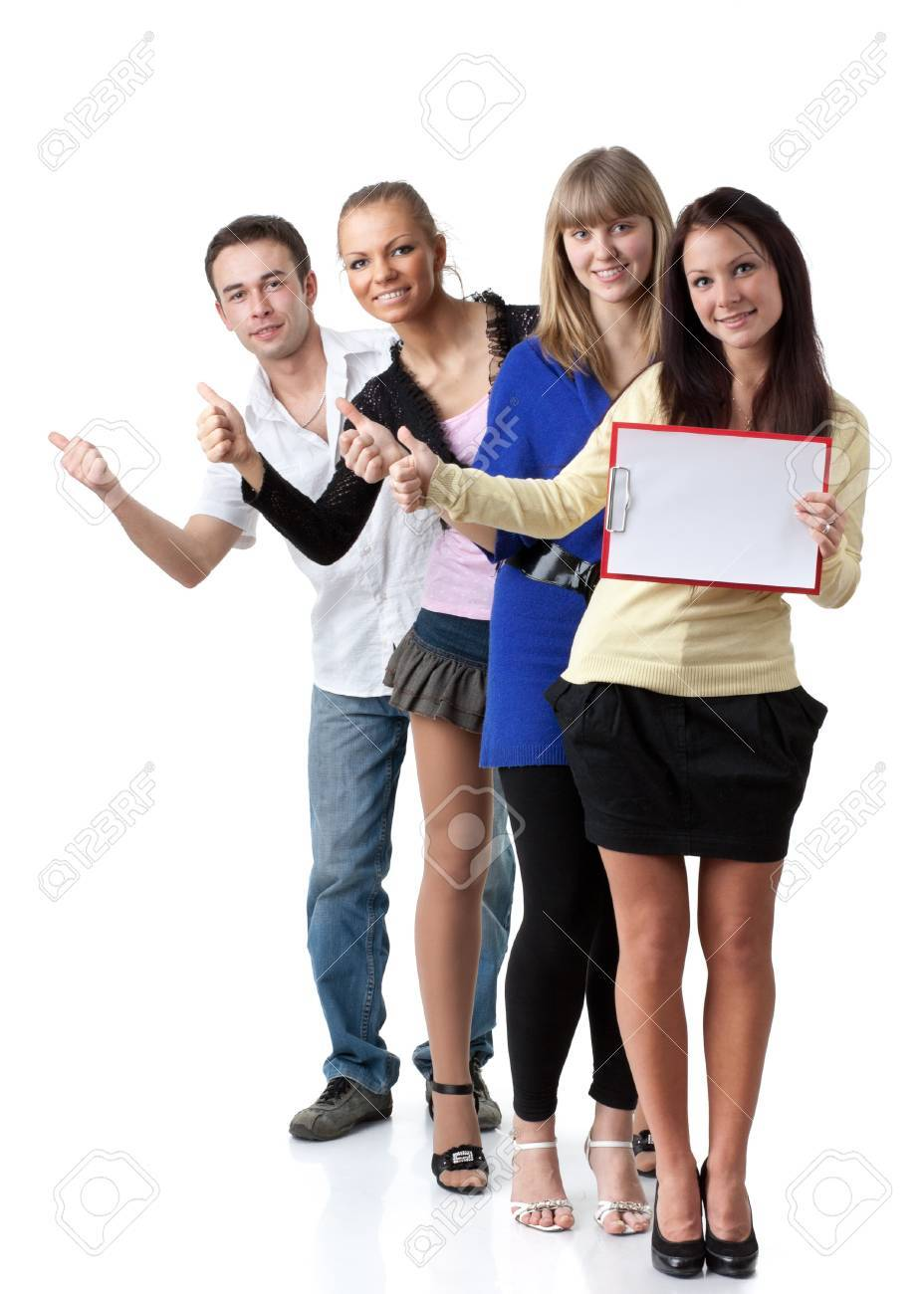 Group of young happy people hitchhiking on a white background. Stock Photo - 9251985