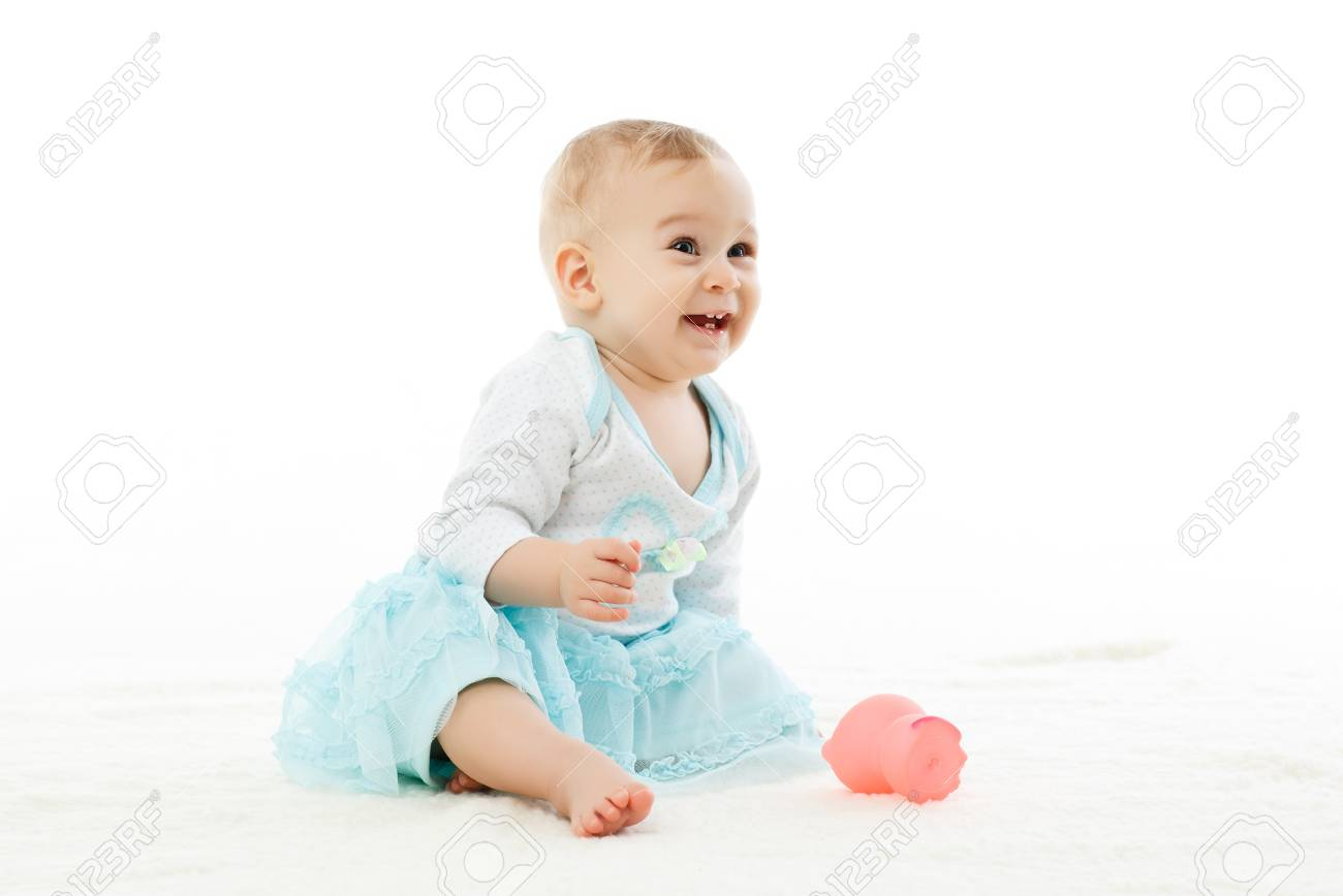 sweet small baby girl on a white background stock photo, picture and