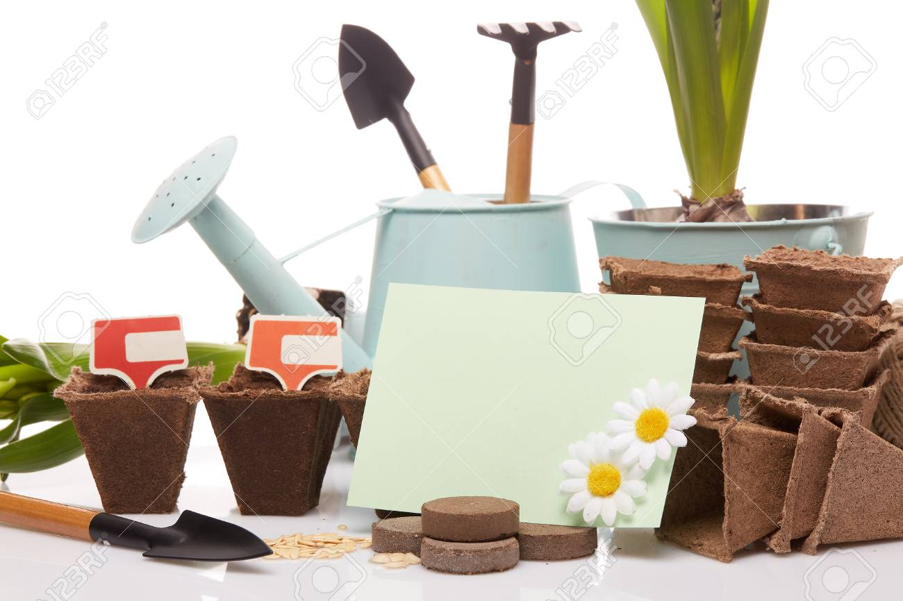 Gardening Tools, Watering Can, Peat Tablets And Pots, Seeds,.. Stock ...