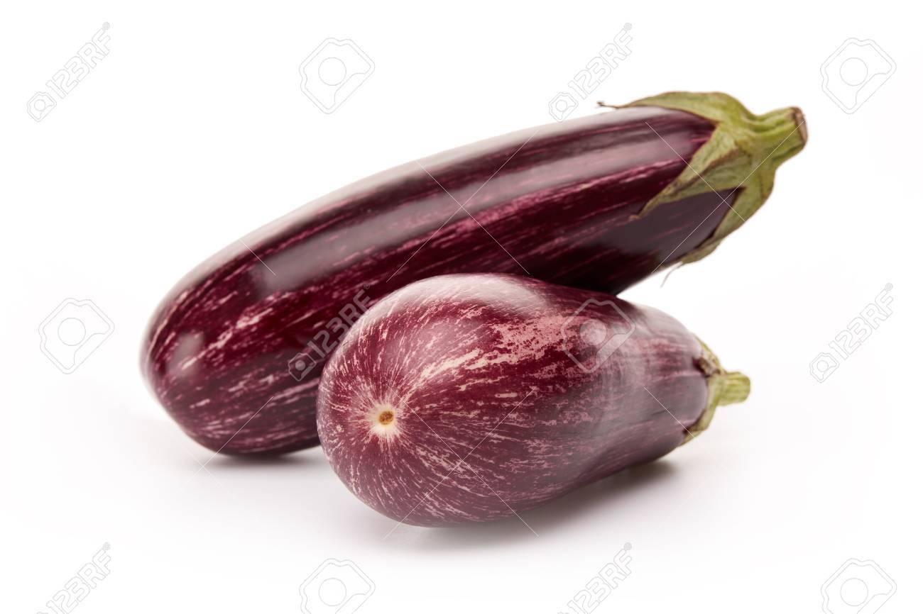 Two fresh graffiti eggplants aubergine on a white background stock photo 76084807
