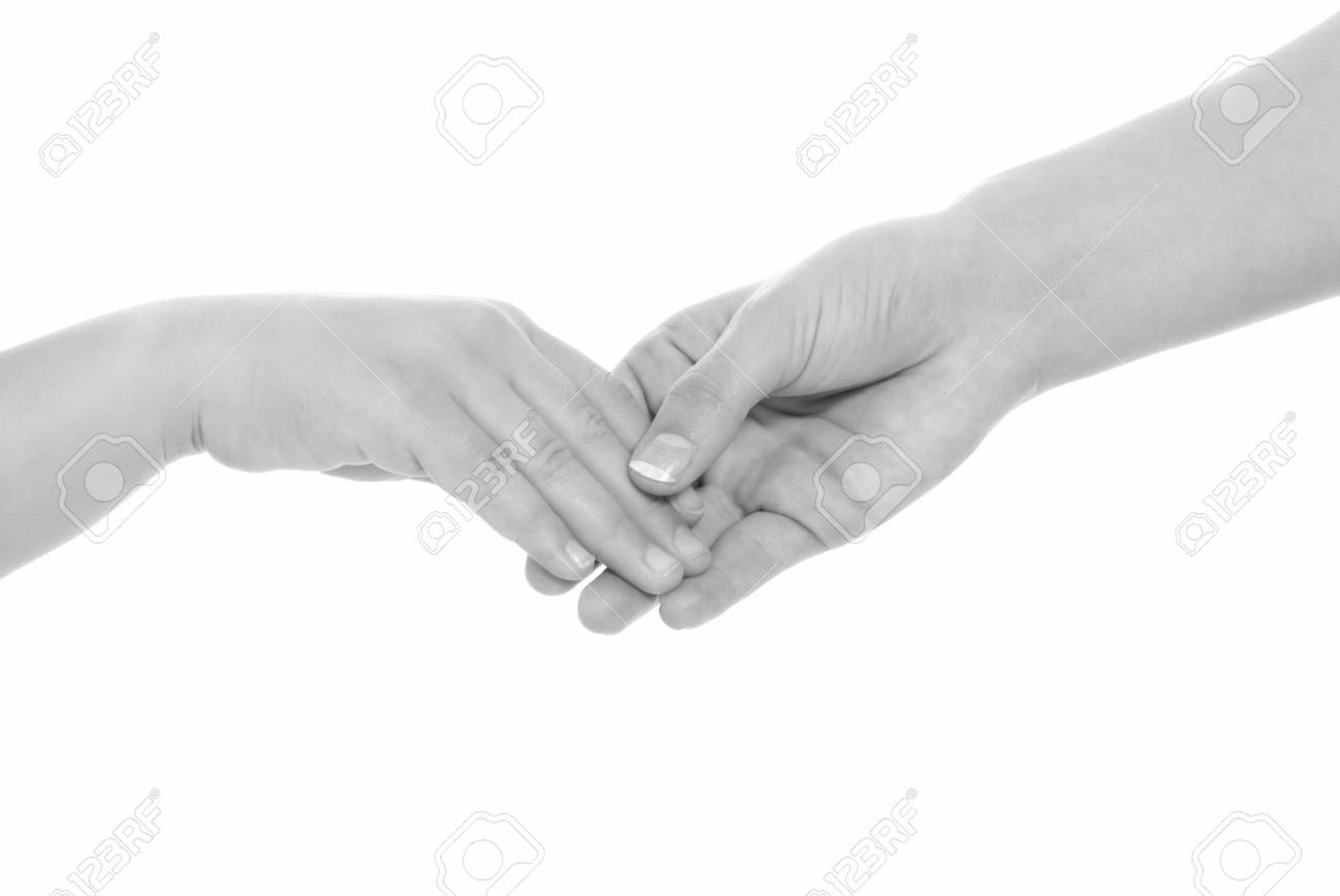 young woman and children girl handshake black and white isolated Stock Photo - 7501033
