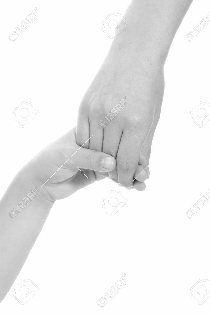 young woman and children girl handshake black and white isolated Stock Photo - 7501031