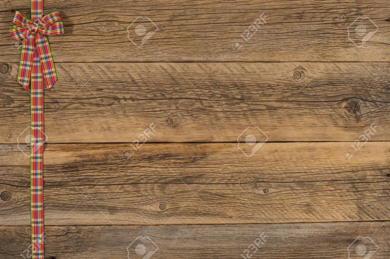 Decorative Ribbon On The Old Wooden Table Top View