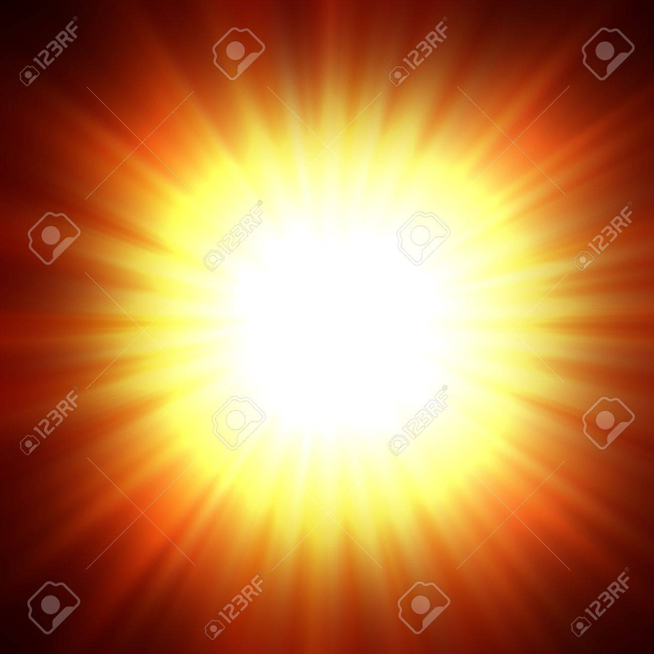 A star burst or lens flare over a black background  It also looks like an abstract illustration of the sun Stock Photo - 12776688
