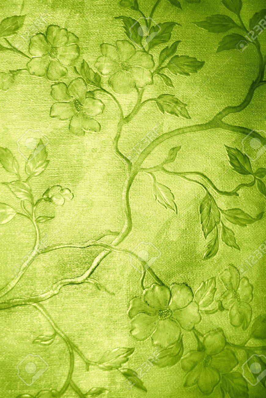 Grun Floral Grunge Tapete Auf Lederstruktur Lizenzfreie Fotos