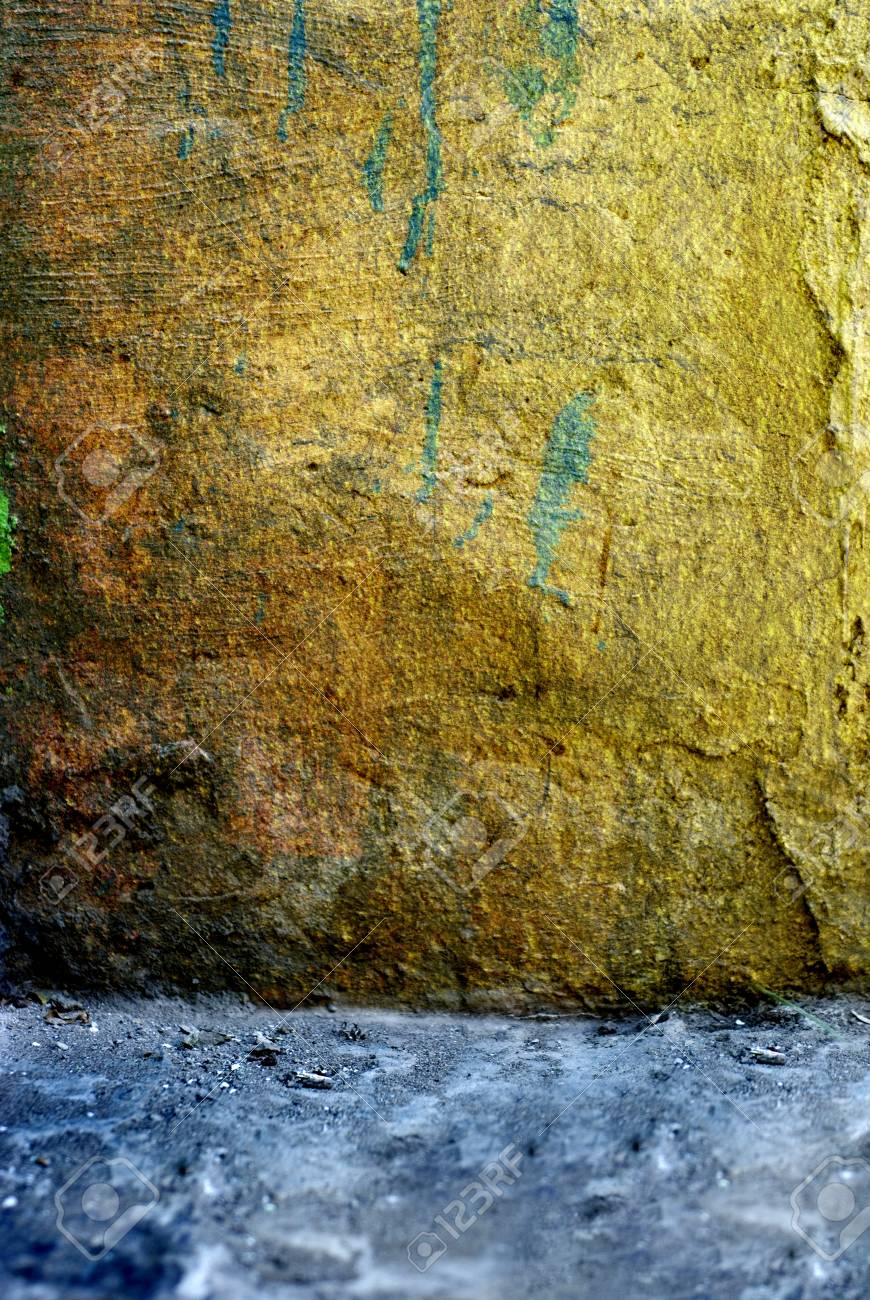 grungy amber room  with paint splash on wall Stock Photo - 13053248
