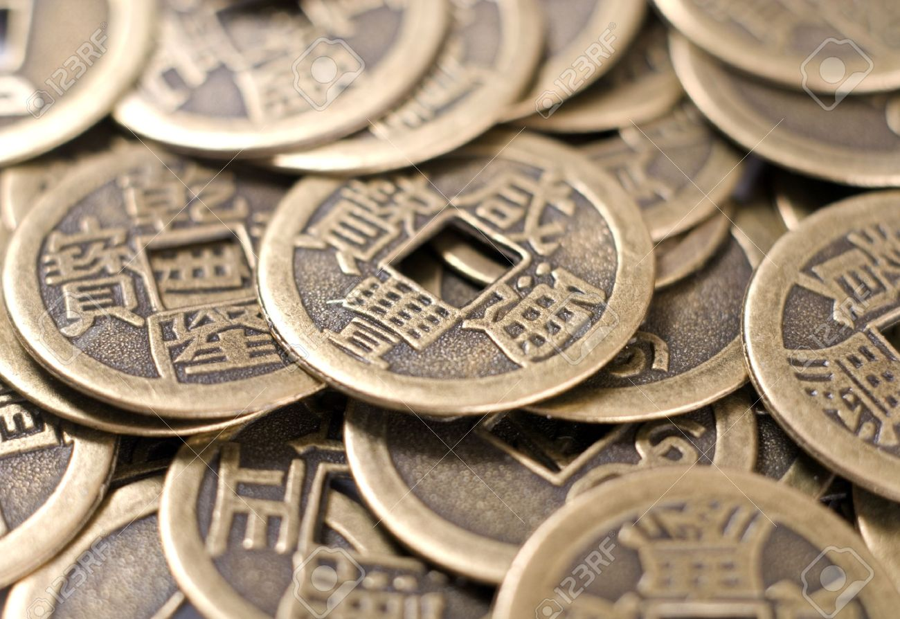 Antique bronze Chinese coins of close-up - 13094906