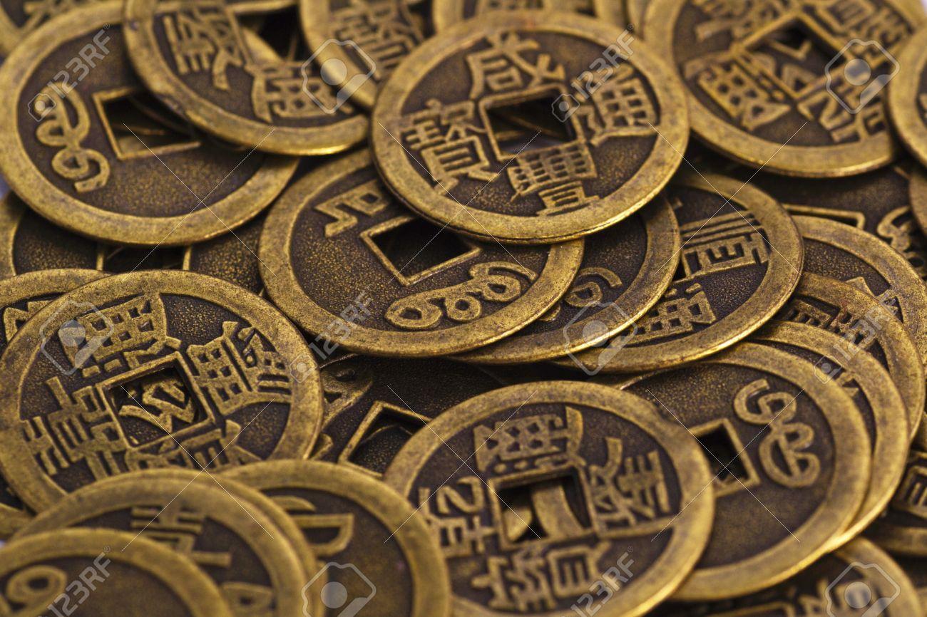 Old China Münzen Textur Nahaufnahme Lizenzfreie Fotos Bilder Und